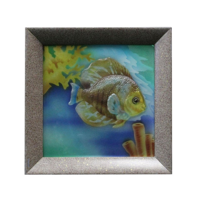 Liuli glass 3d under water tropical fish pattern framed for 405 tropical fish