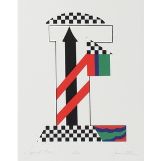 """Gwen Stone """"Signal One"""" Checkered Abstract Serigraph, 1978 For Sale"""