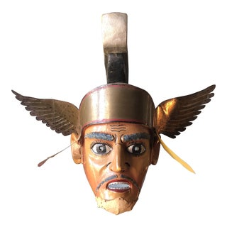 Filipino Ceremonial Brass and Wooden Winged Mask For Sale