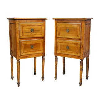 Pair of Italian Neoclassic Walnut Commodini