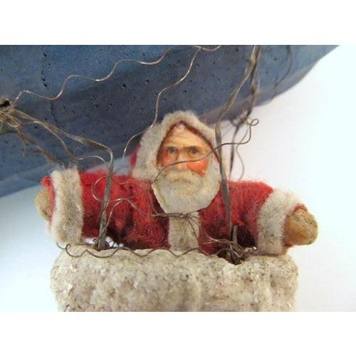 Antique German Santa in Basket on Zeppelin Christmas Ornament For Sale - Image 11 of 11