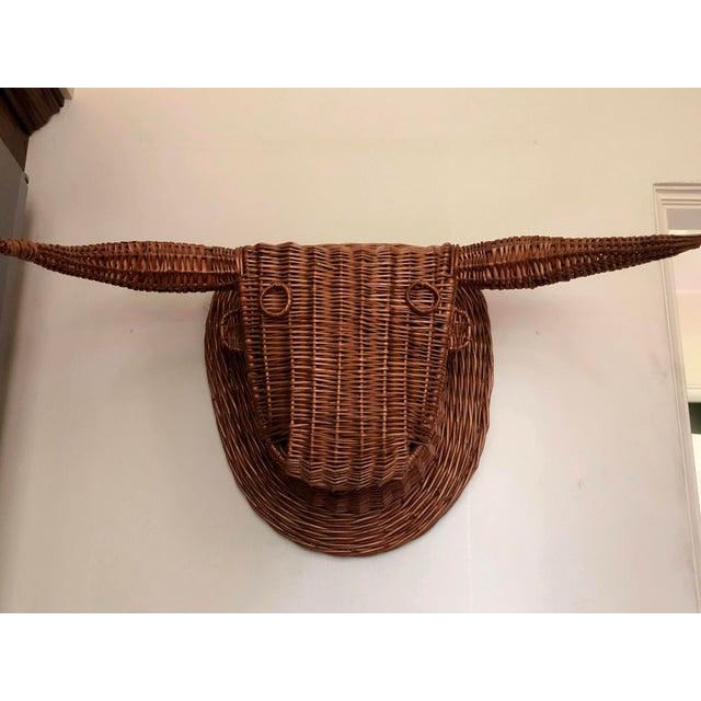 Wicker bull's head sculpture. Handmade in Spain, mid-20th century.
