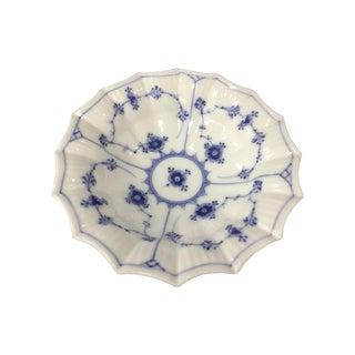 Royal Copenhagen Fluted Blue Half Lace Pickle Dish