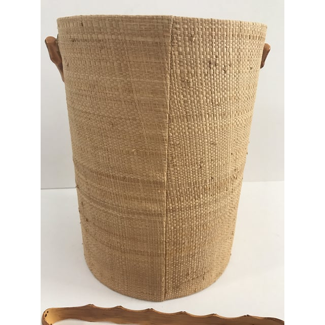 Vintage Grasscloth Ice Bucket With Faux Bamboo Tongs - A Pair - Image 6 of 7