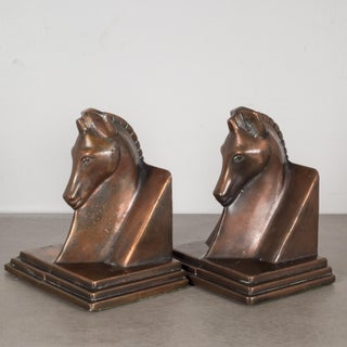 Art Deco Bronze-Plated Horse & Buttress Bookends, C.1930 Preview