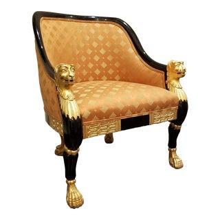 Ebonized Regency Style Chair With Gilt Lionheads