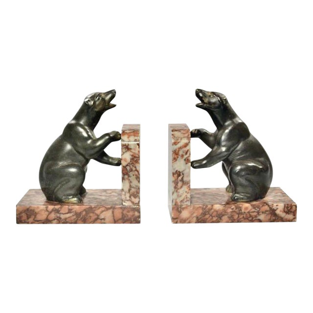 French Art Deco Polar Bear Bookends - A Pair For Sale