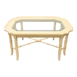 Chippendale Faux Bamboo Glass Top Coffee Table For Sale