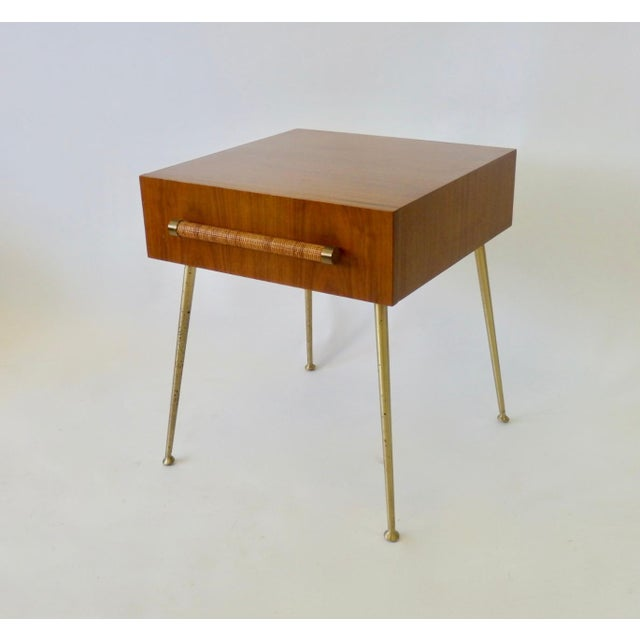 Robsjohn Gibbings Widdicomb Nightstand Side Table with Raffia Cane Covered Pull For Sale - Image 9 of 9