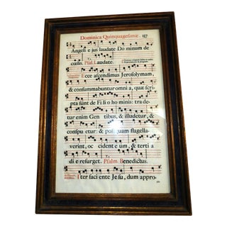 15th Century Antiphonal Manuscript Music Leaf For Sale