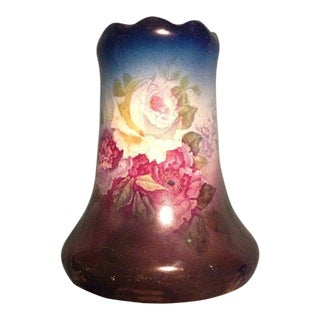 Floral Hand Painted German Vase For Sale