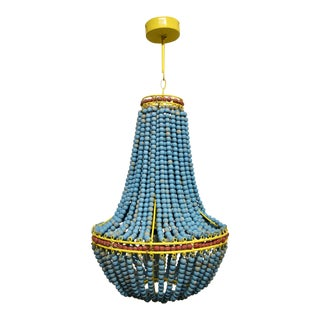 Turquoise Wood Beaded Chandelier For Sale