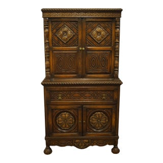 1940s Vintage English Revival Gothic Jacobean Cupboard/Storage Cabinet For Sale