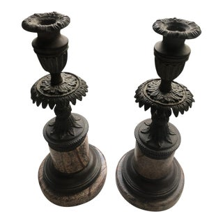 Marble Antique Carved Candle Holders - a Pair For Sale