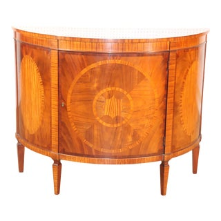 Baker Historic Charleston Collection Mahogany and Satinwood Demilune Buffet For Sale