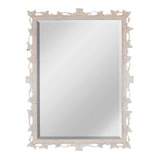 1940s White Lacquered & Beveled Art Deco Mirror For Sale