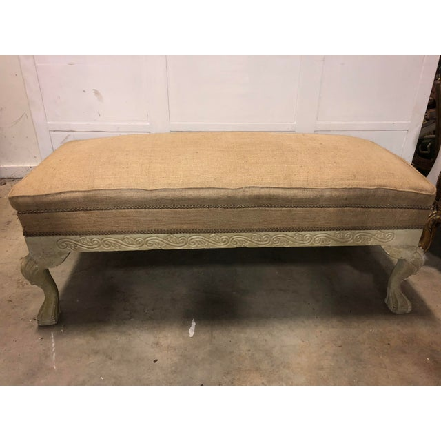 Vintage French Burlap Long Bench For Sale In Atlanta - Image 6 of 6