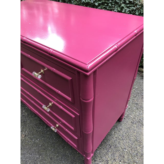 Hot Pink Faux Bamboo Three Drawer Bachelor Chest For Sale - Image 8 of 9