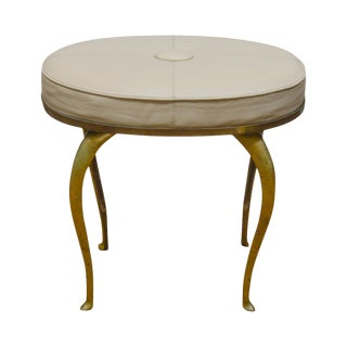 Global Views Brass Oval Leather Seat Stool
