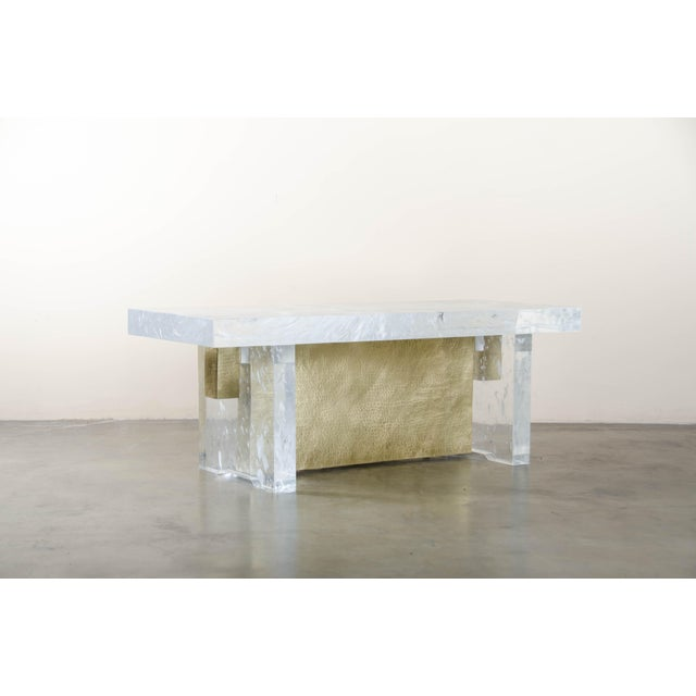 2010s Melrose Bench by Robert Kuo, Brass and Crystal, Limited Edition For Sale - Image 5 of 5