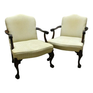 1900 Vintage George III Style Mahogany Library Armchairs - a Pair For Sale