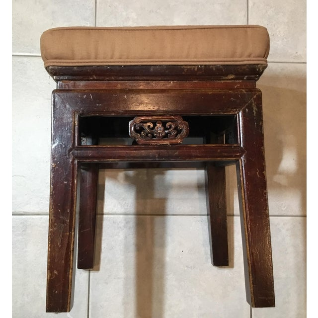 1950s Antique Upholstered Chinese Foot Stool For Sale - Image 5 of 13