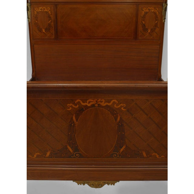 Louis XVI French Louis XVI Style Bronze Trimmed Marquetry Inlaid Bed For Sale - Image 3 of 4
