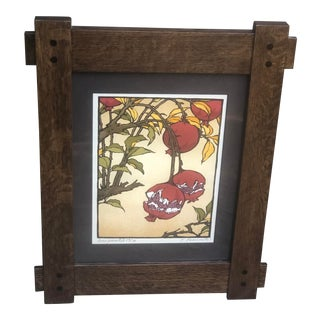 Yoshiko Yamamoto Pomegranate II Limited Edition Woodblock in Arts & Crafts Frame For Sale