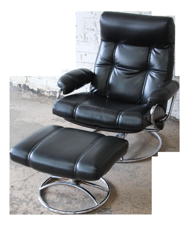 Vintage Black Ekornes Stressless Chair and Ottoman  sc 1 st  Chairish & Vintage Black Ekornes Stressless Chair and Ottoman | Chairish