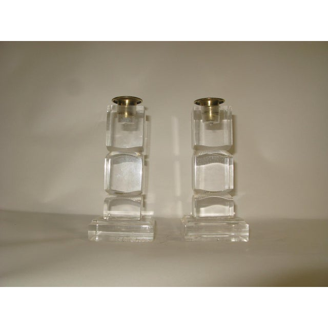 Mid-Century Modern Vintage Lucite Candle Holders - a Pair For Sale - Image 3 of 8