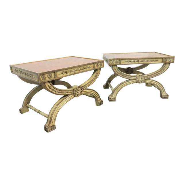 Regency Cream Carved X Base Stools- a Pair For Sale