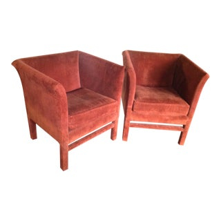 Mid-Century Modern Burnt Orange Velvet Club Chairs - a Pair For Sale