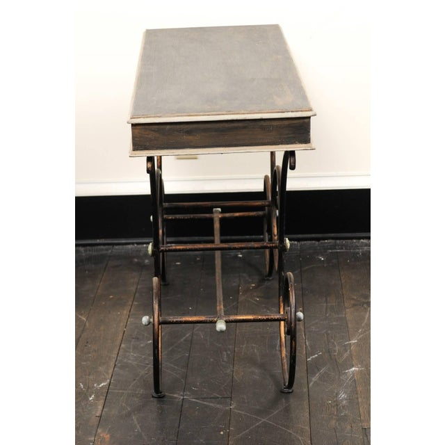 Vintage French Baker's Table With Painted Wood Top and Scrolled Iron Base For Sale - Image 9 of 11