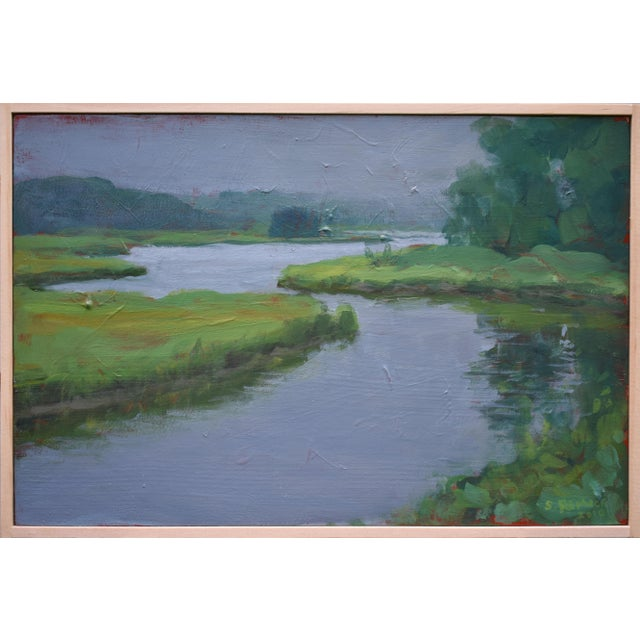 """Blue """"Inlet With Fog"""" Contemporary Plein Air Painting by Stephen Remick For Sale - Image 8 of 8"""