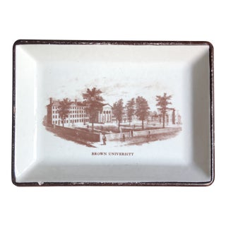 Mid Century Brown University Ceramic Tray For Sale
