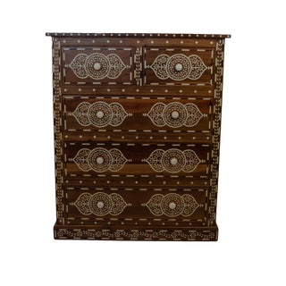 Indian Bone Inlay 5-Drawer Dresser For Sale