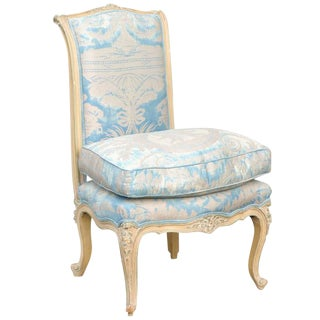 French Louis XV Style Early 20th Century Painted Slipper Chair in Fortuny Fabric