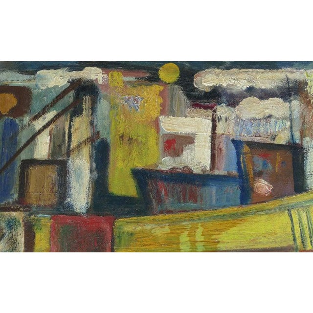 Abstract Expressionism 1960 Wpa Style Fishing Boatyard Oil Painting For Sale - Image 3 of 10