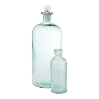 Antique Aqua Apothecary Bottles - a Pair For Sale