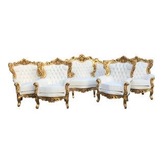 1940's Italian Rococo Living Room Set- 5 Pieces For Sale