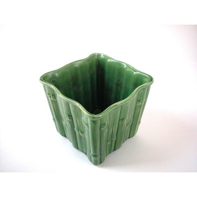 Green Ceramic Bamboo Planter For Sale - Image 5 of 7