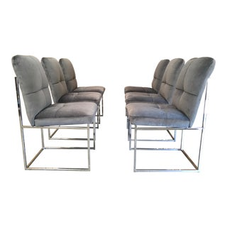 Vintage Mid-Century Milo Baughman Style Chrome Dining Chairs - Set of 6 For Sale