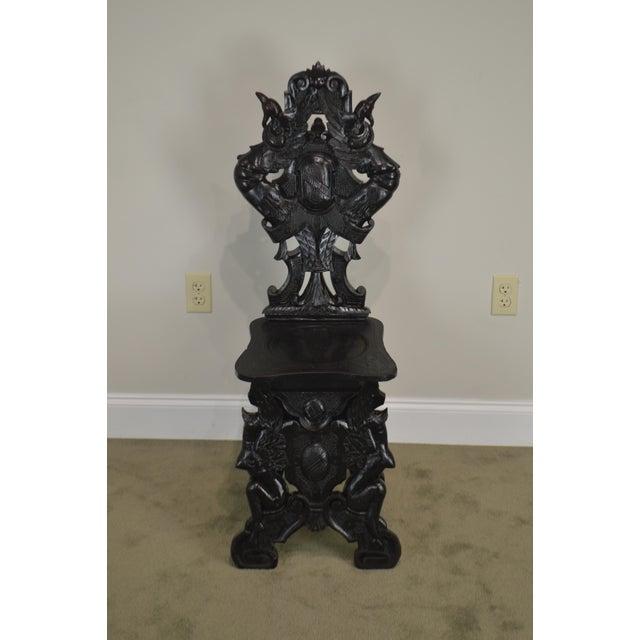 Italian Italian Renaissance Antique Phoenix Carved Walnut Hall Chair For Sale - Image 3 of 13