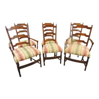 Country French Floral Carved Maple Ladderback Style Dining Chairs - Set of 6 For Sale