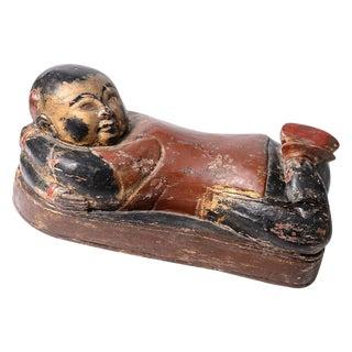 Antique Chinese Wood & Polychrome Sleeping Buddha Figurine