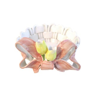 1980s Italian Pottery Woven Bread Basket with Pink Bow Motif For Sale