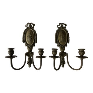 Antique Brass Double Sconces - A Pair For Sale