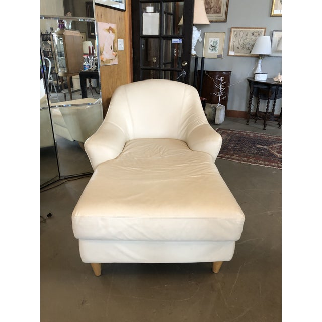 1980s 1980s Vintage Calia Italia Italian Cream Leather Chaise For Sale - Image 5 of 13