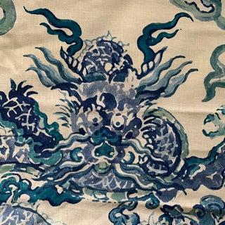 "Aqua Peacock Blue Luxe Thailand ""enter the Dragon"" Richard Smith for Thompson Linen Fabric- 6 1/2 Yards Preview"