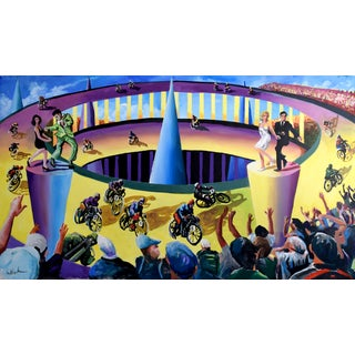 "Acrylic Painting on Canvas, ""Twistin' at the Motodrome"" For Sale"